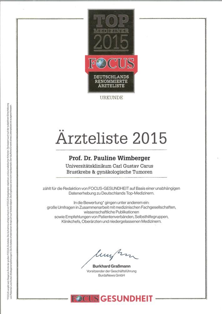 Focus Urkunde beste Ärzte 2015