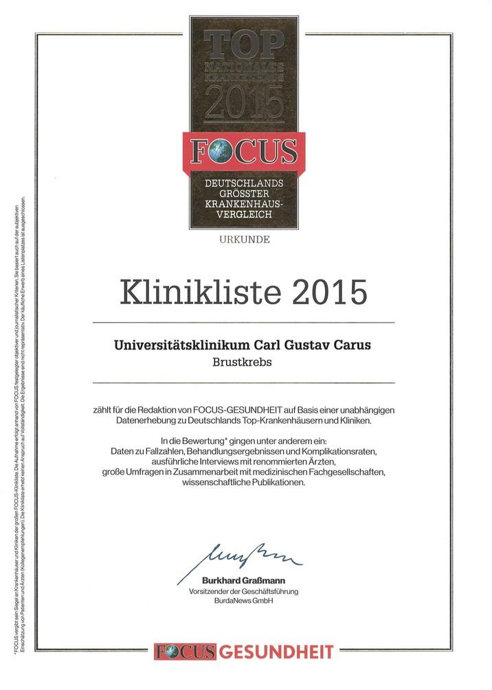 Focus Urkunde Brustkrebs 2015