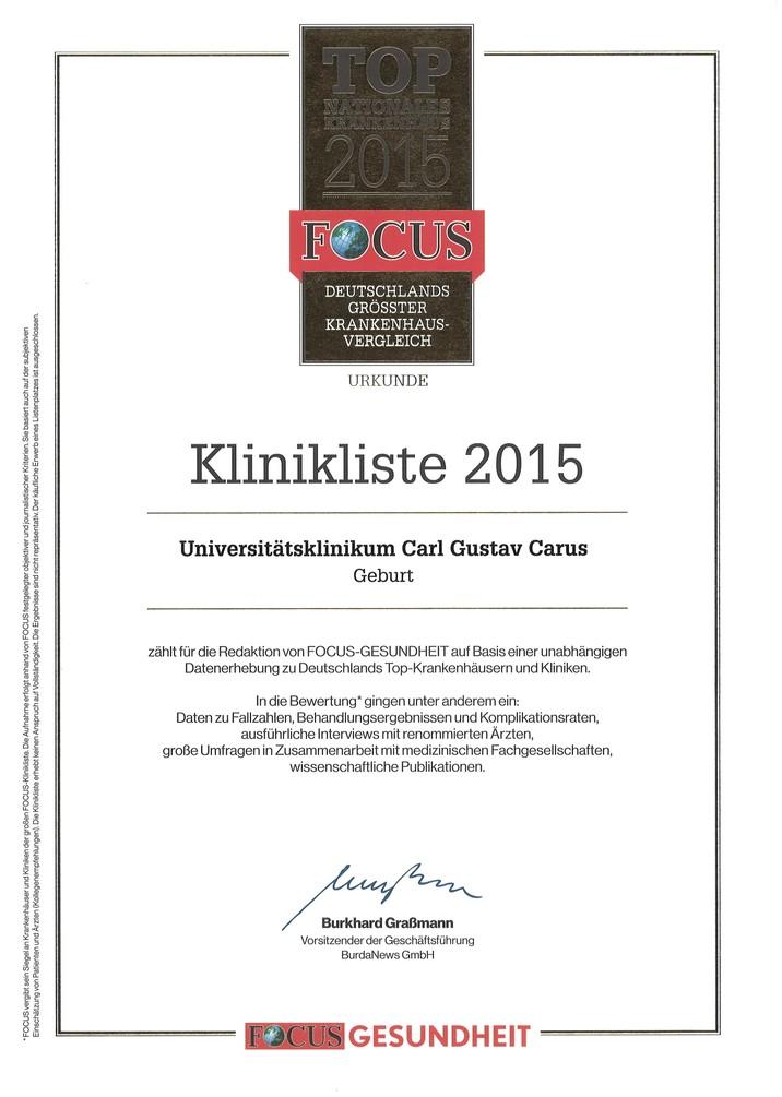 Focus Urkunde Geburt 2015