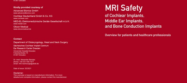 New compendium MRI safety of cochlear implants, middle ear and bone conduction implants released
