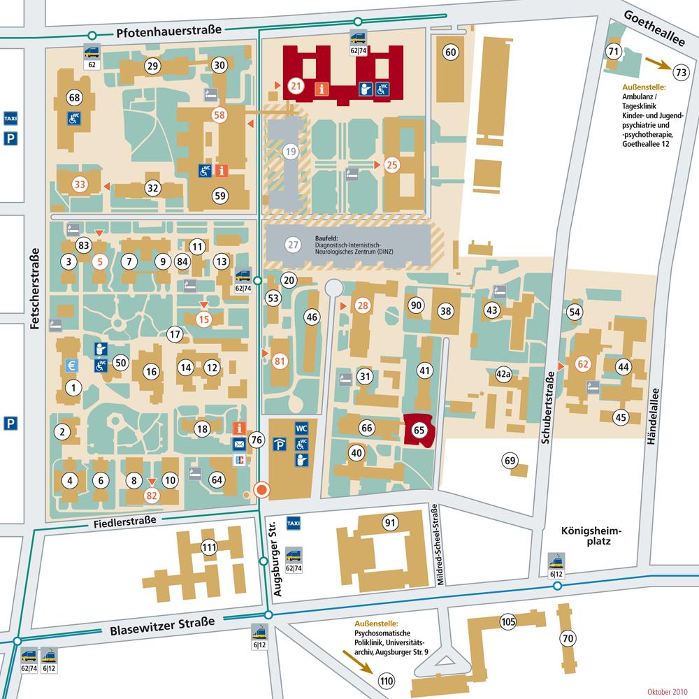 Lageplan Klinik und Poliklinik für Kinder- und Jugendmedizin - Haus 21 und 65