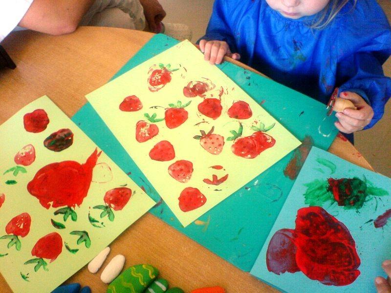 Erdbeeren stempeln