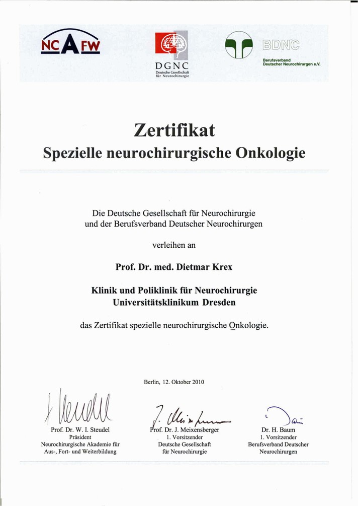 Zertifikat - Prof. Dr. med. Krex