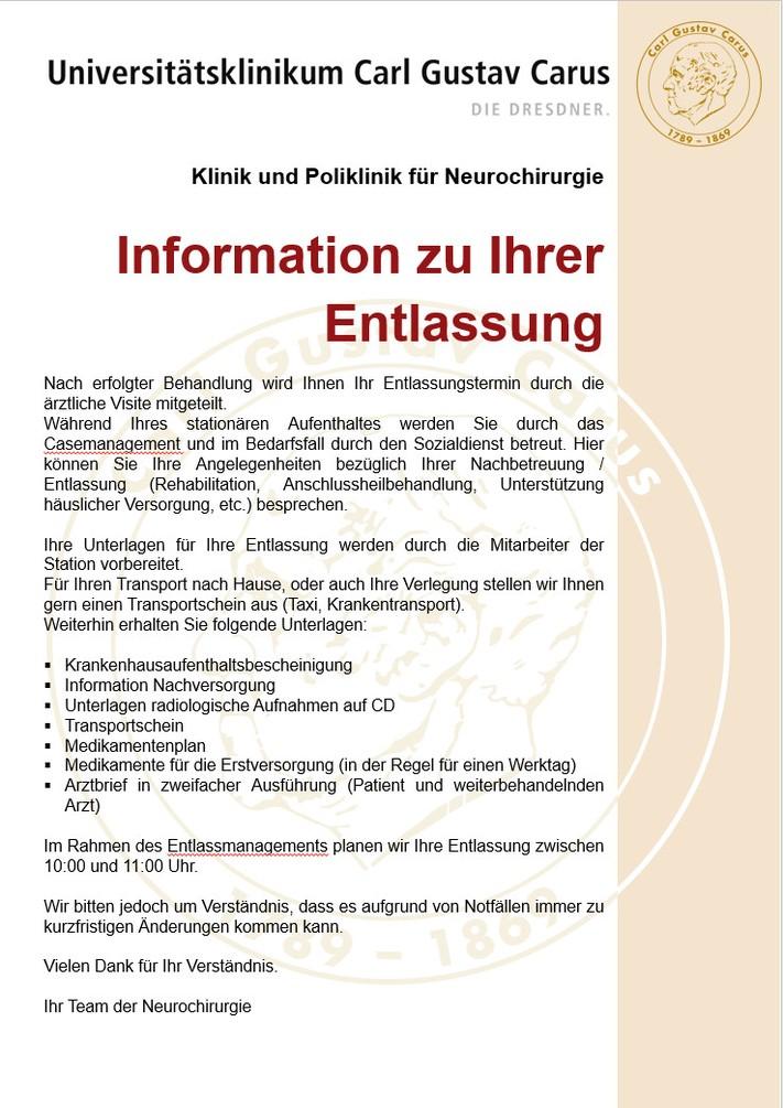 Information zur Entlassung