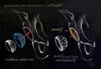 """Befestigung von Prothesenpfanne im Knochen des Patienten: Links """"zementfrei"""", rechts """"zementiert"""" mittels (gelb markiertem) Knochenzement dargestellt"""