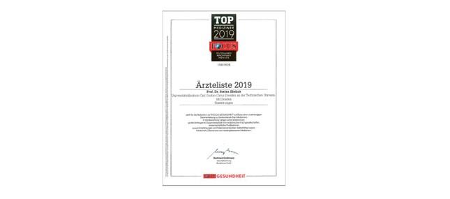 FOCUS-Siegel TOP-Mediziner 2019
