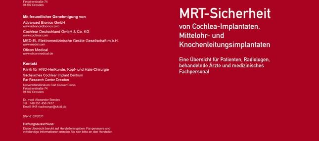 Aktualisierte Broschüre MRT-Sicherheit von Cochlea-Implantaten, Mittelohr- und Knochenleitungsimplantaten erschienen