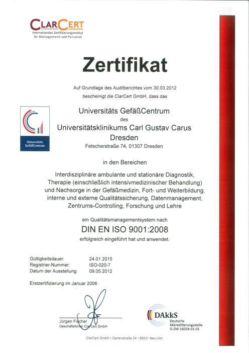 2012 - Zertifizierungsurkunde DIN EN ISO 9001:2008