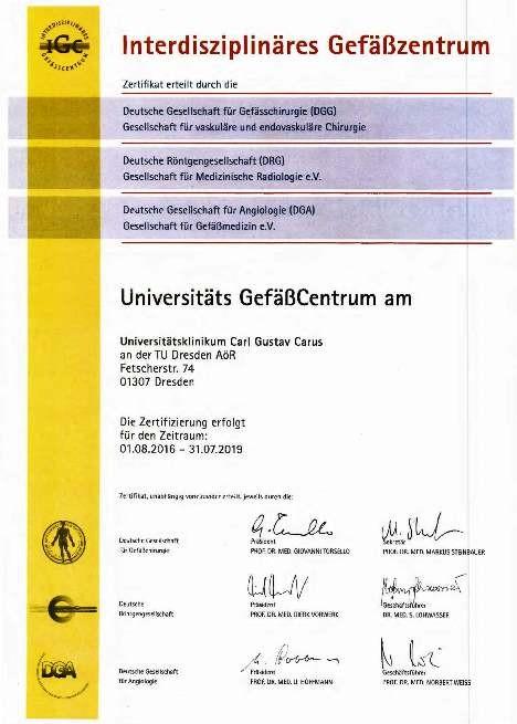 Zertifizierungsurkunde Fachgesellschaften