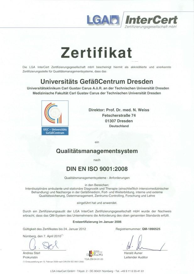 2009 - Zertifizierungsurkunde DIN EN ISO 9001:2008