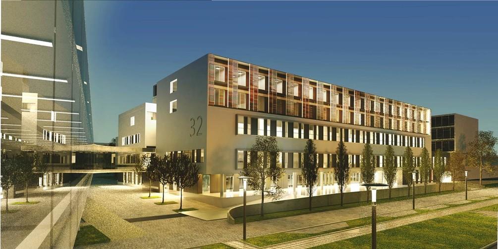 Neubau Haus 32 Südwest-Ansicht bei Nacht.