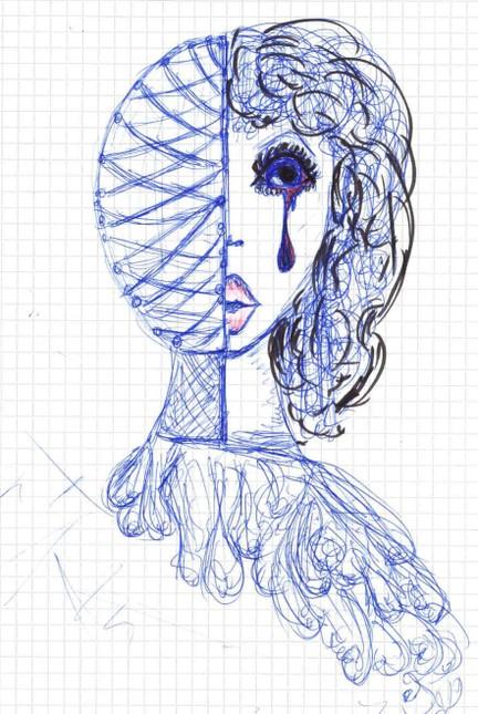 Die Zeichnung der 15-jährigen Migränepatientin beschreibt das Empfinden während der sogenannten Aura. Diese vor der Kopfschmerzattacke eintretende Phase äußert sich bei ihr im halbseitigen Ausfall des Gesichtsfelds.
